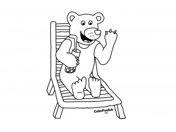 Coloring page of a bear on the beach