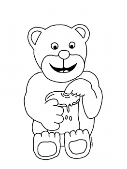 Coloring page of a bear eating honey