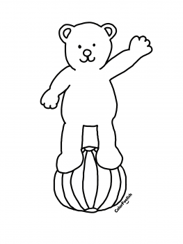 Coloring page of a bear on a ball