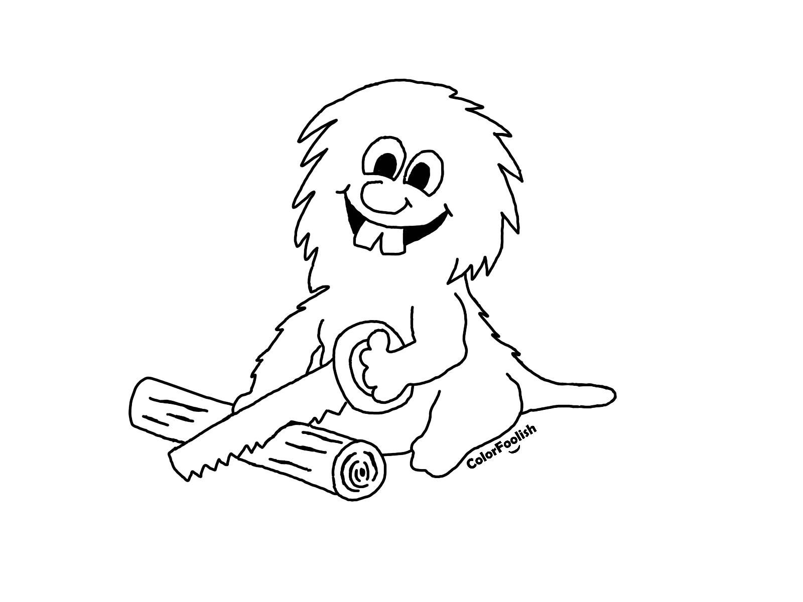 Coloring page of a beaver sawing