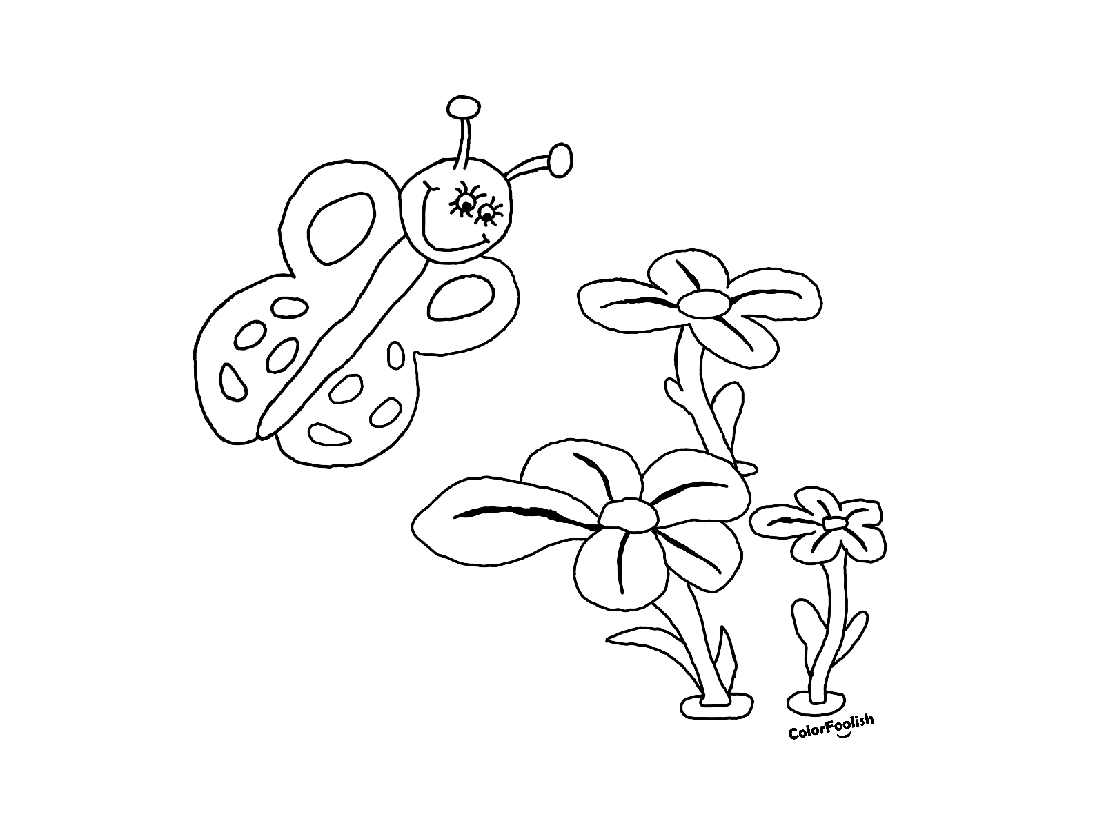 Coloring page of a butterfly that smells flowers