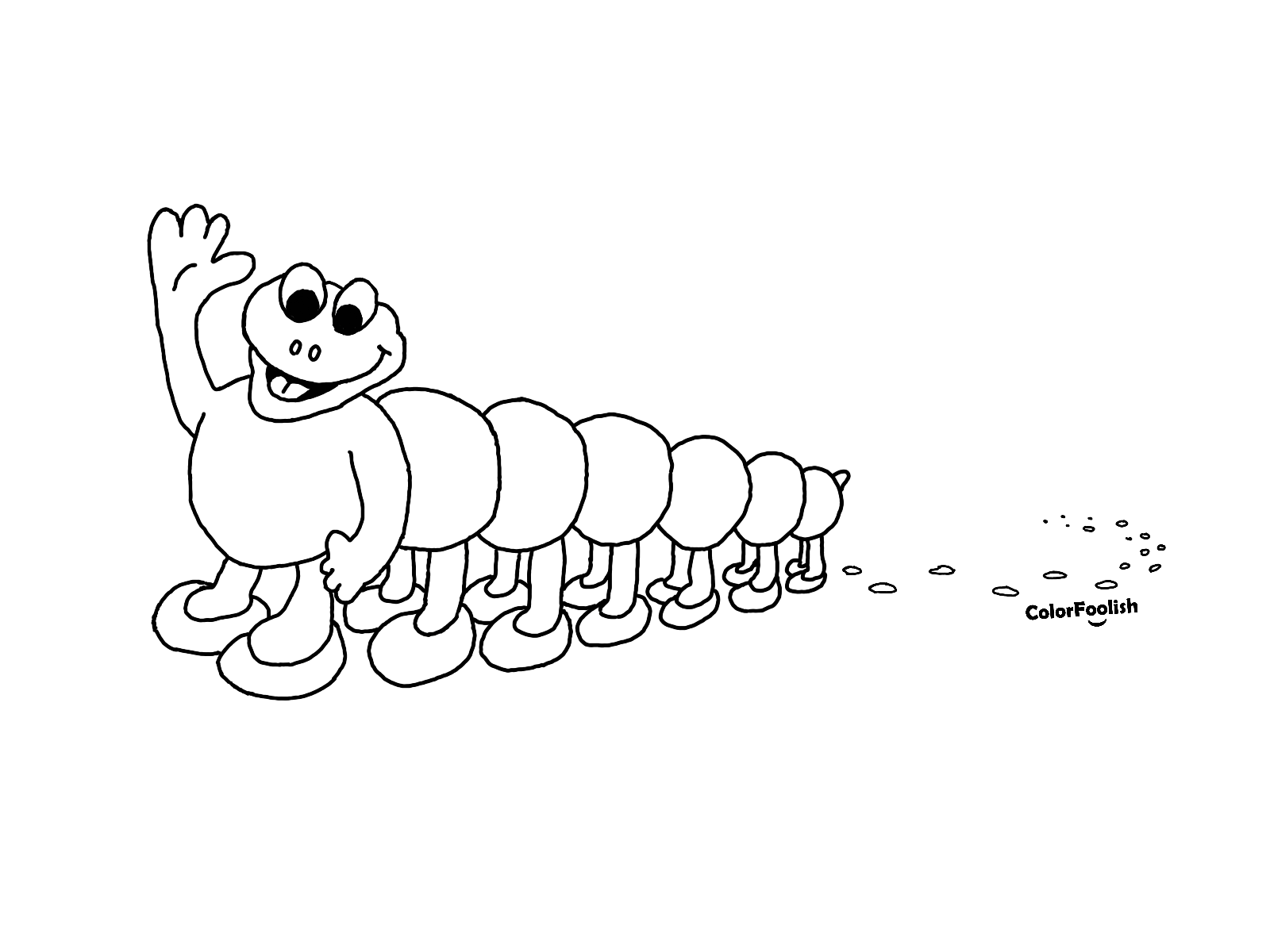 Coloring page of a centipede with dirty feet