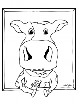 Coloring page of a chocolate milk cow