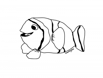Coloring page of a smiling clown fish