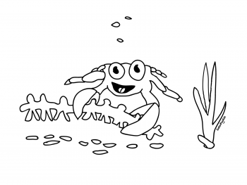 Coloring page of a crafting crab
