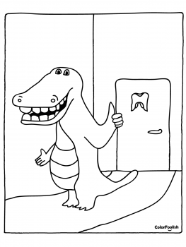 Coloring page of a crocodile at the dentist