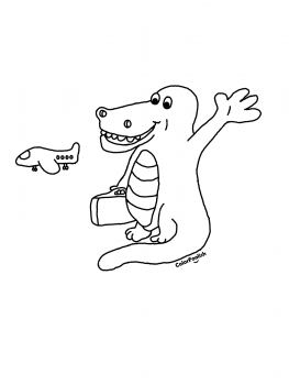 Coloring page of crocodile going on a trip