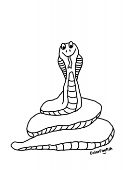 Coloring page of a coiled snake