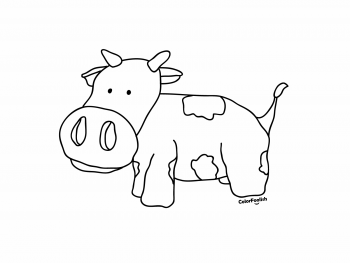 Coloring page of a cute cow