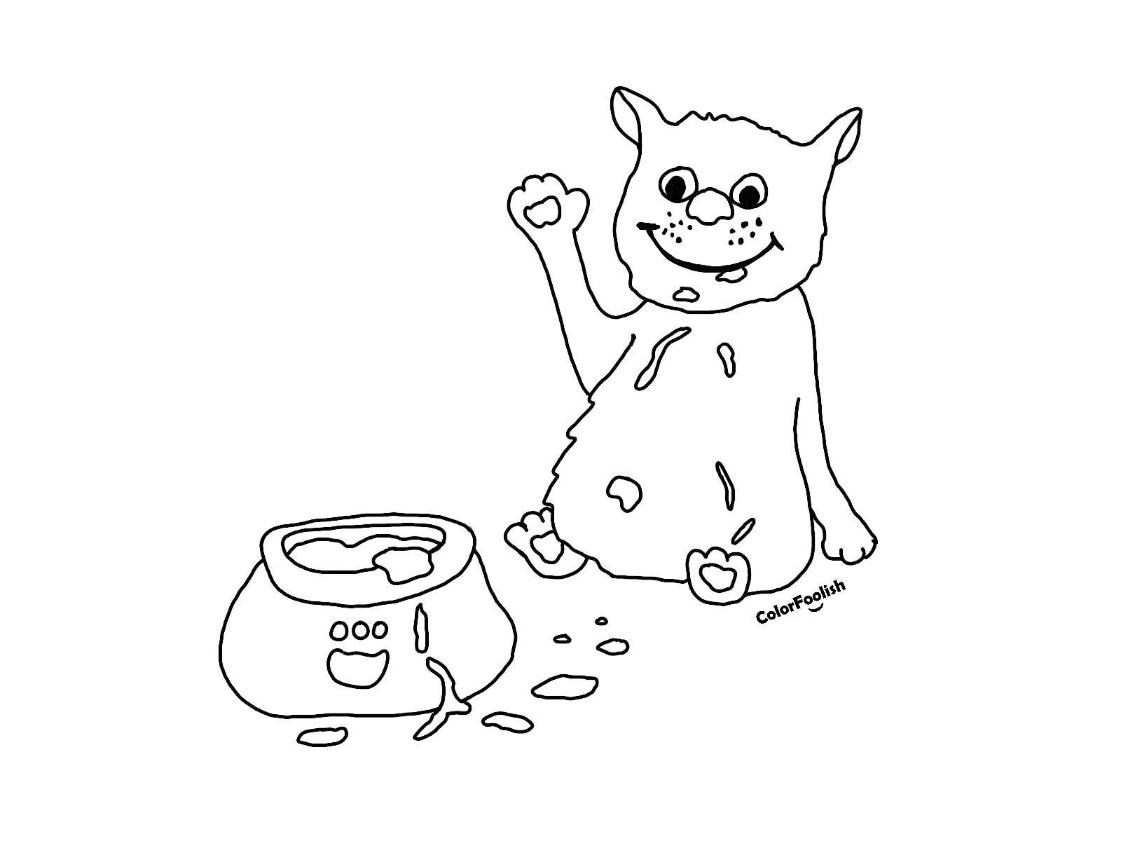 Coloring page of a cat that just ate