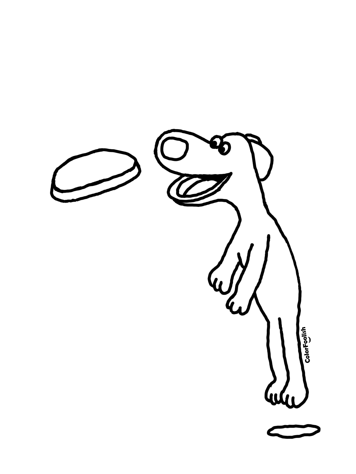 Coloring page of a jumping dog catching a frisbee