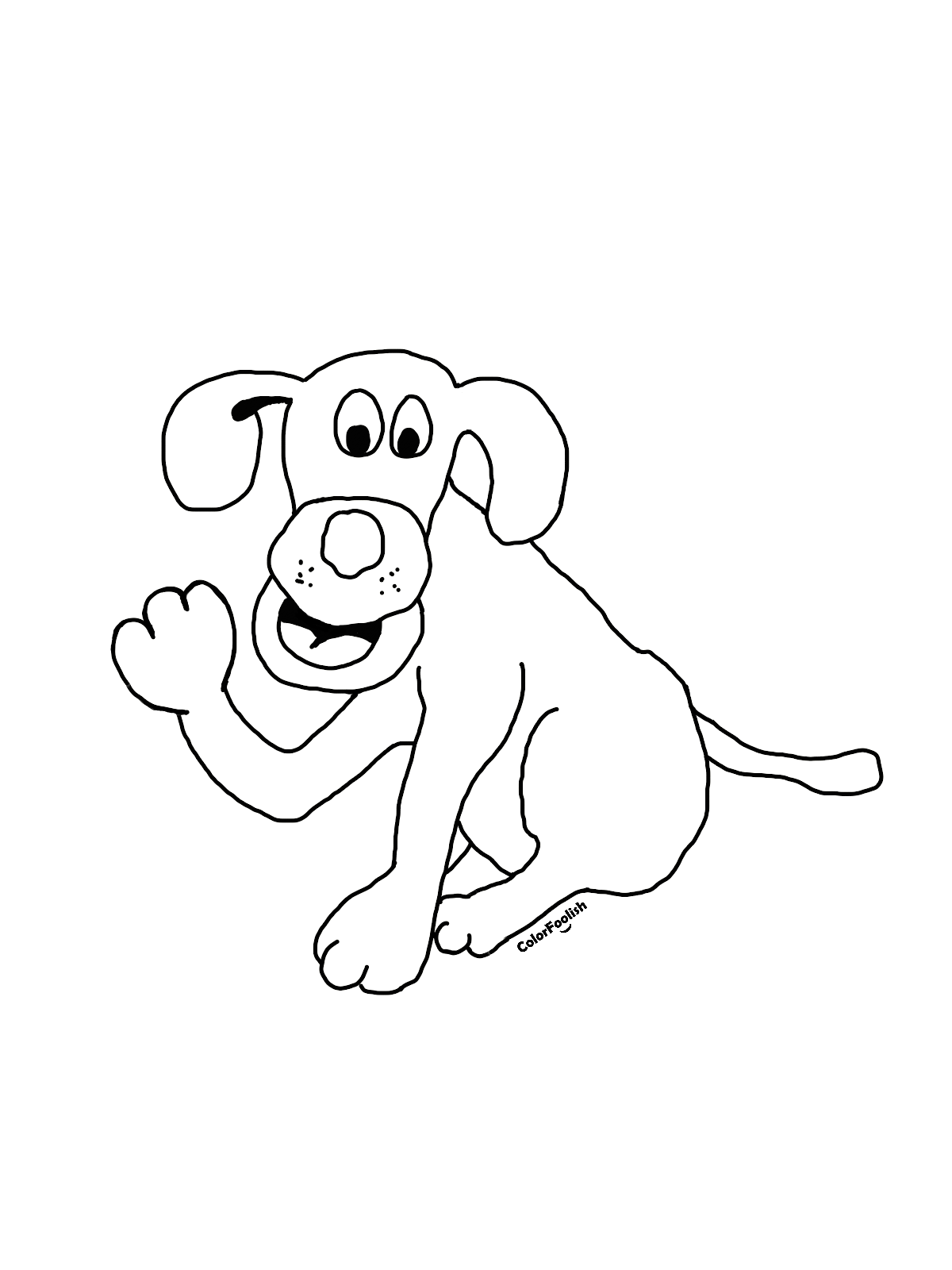 Coloring page of a smiling and waving dog