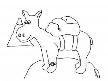 Coloring page of a donkey on top of a mountain