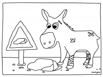 Coloring page of a donkey which will not trip over that rock
