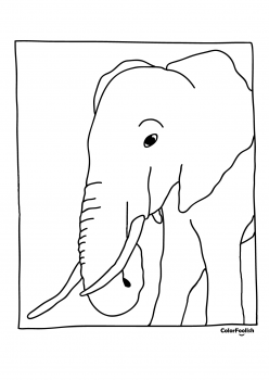Coloring page of an elephant eating