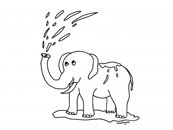 Coloring page of an elephant playing with water
