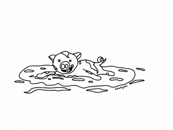 Coloring page of a pig in the mud