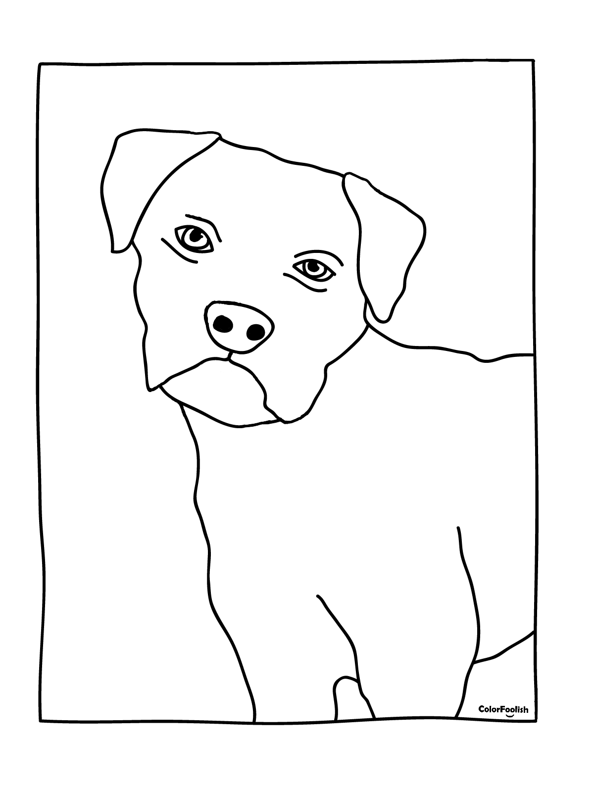 Coloring page of a fox terrier puppy