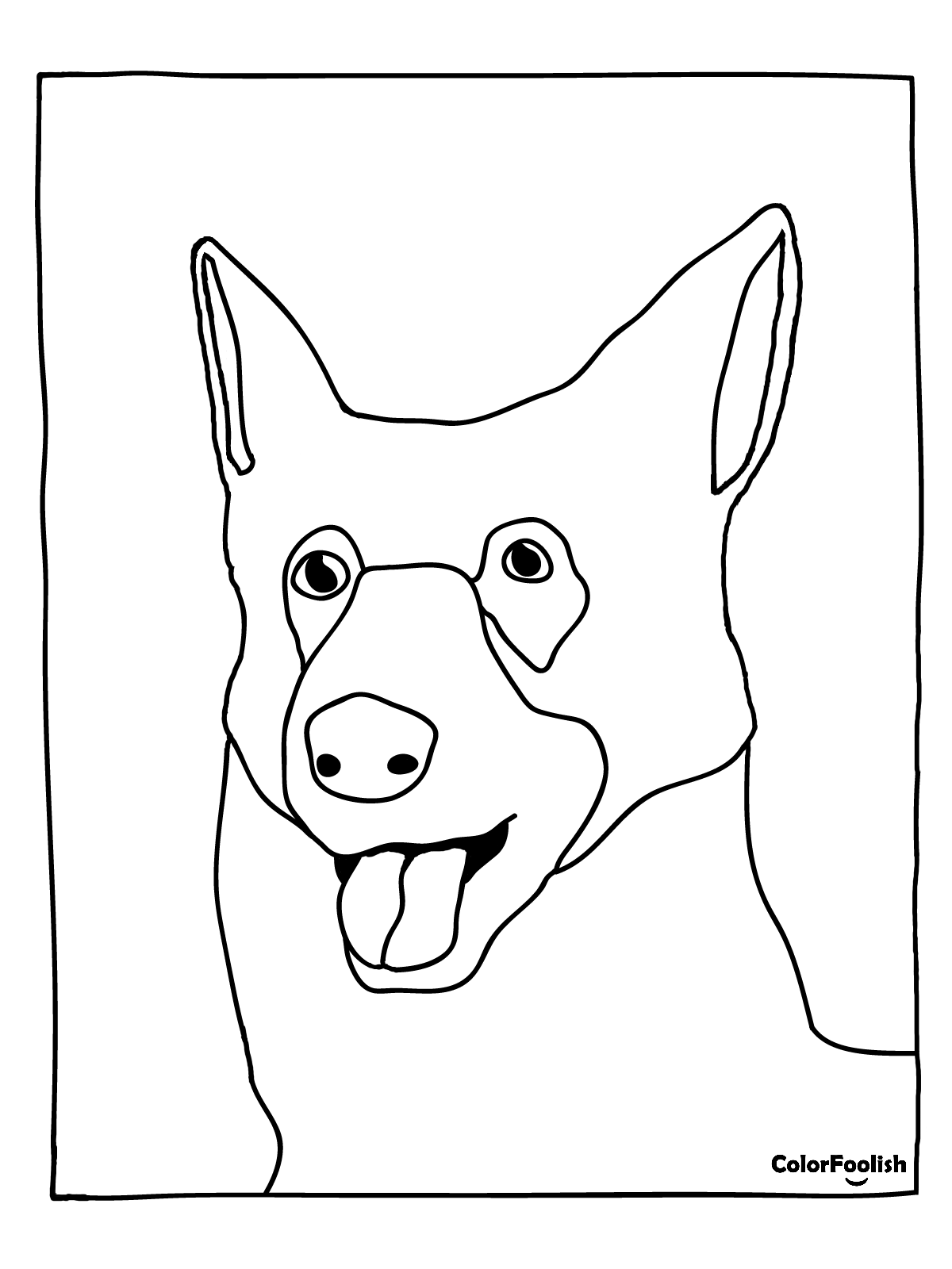 Coloring page of a German Shepherd dog