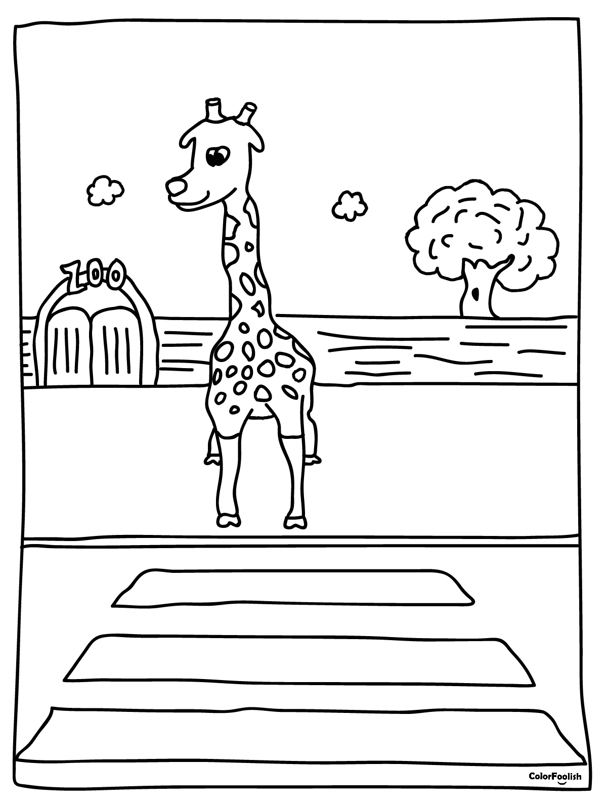 Coloring page of a giraffe crossing the street
