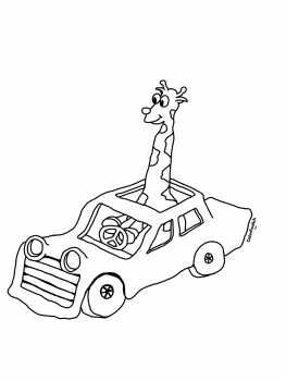 Coloring page of a giraffe in a car