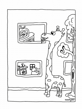 Coloring page of a giraffe watching television