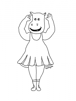 Coloring page of a hippo at ballet