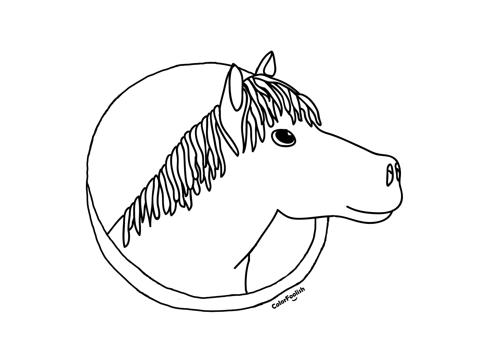 Coloring page of a horse head in a round frame