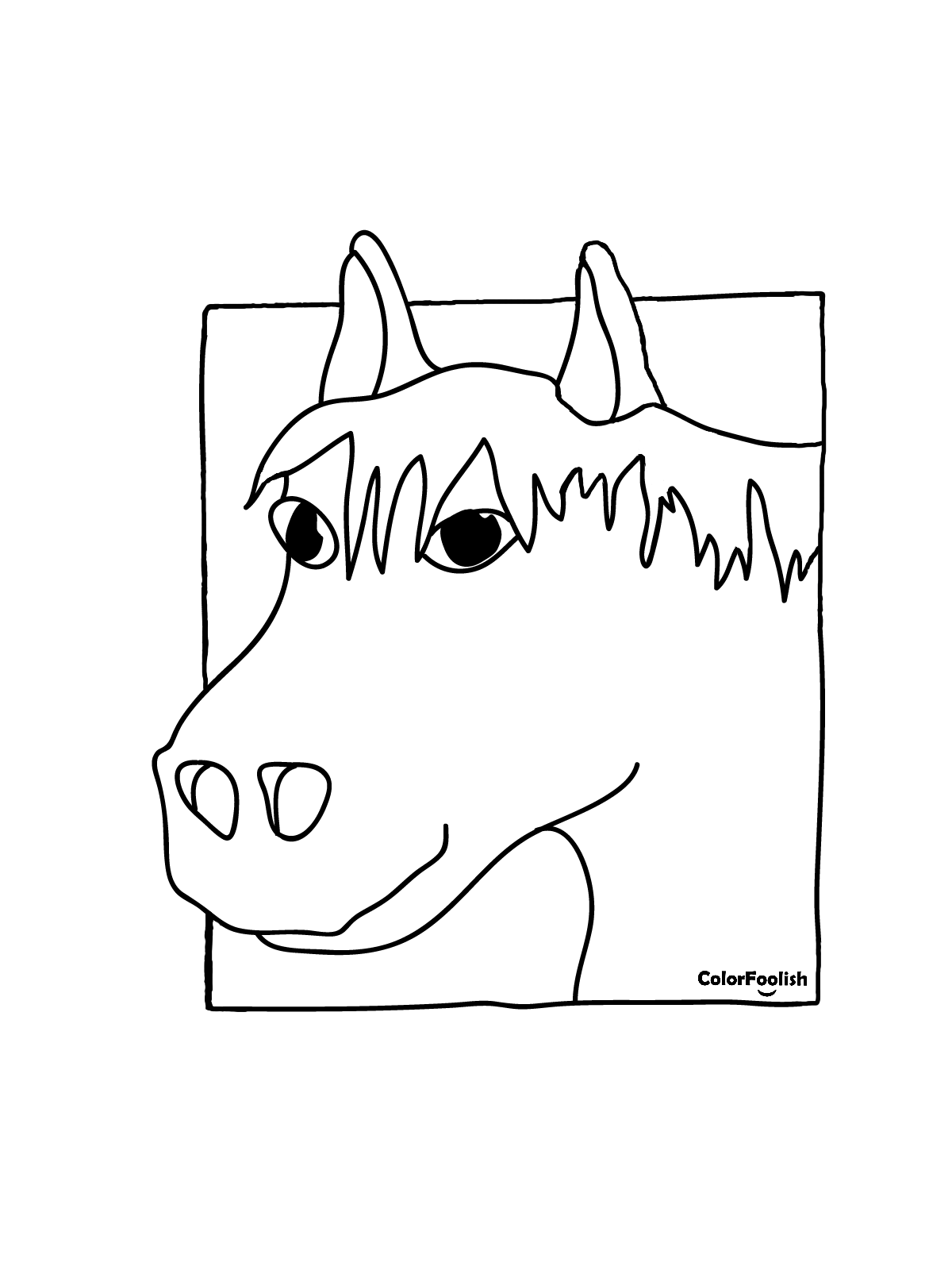 Coloring page of a horse head in a square frame