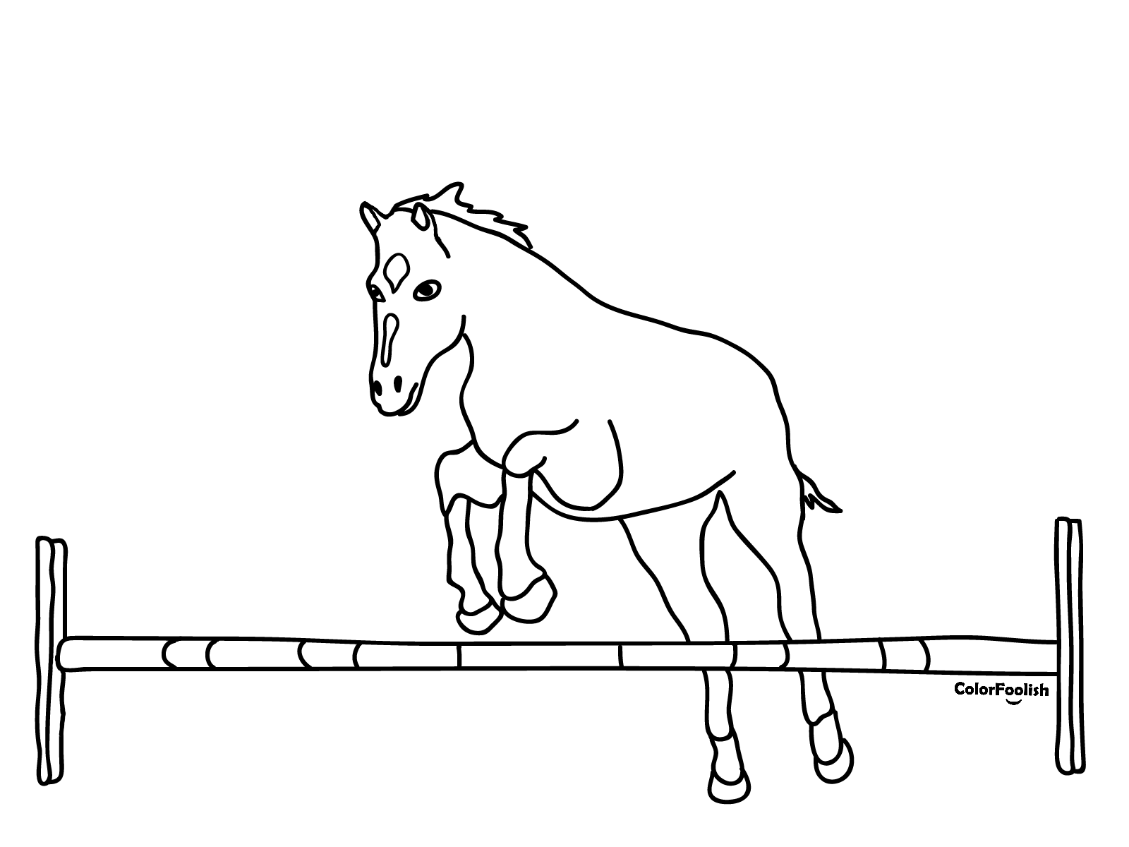 Coloring page of a horse jumping over a hurdle