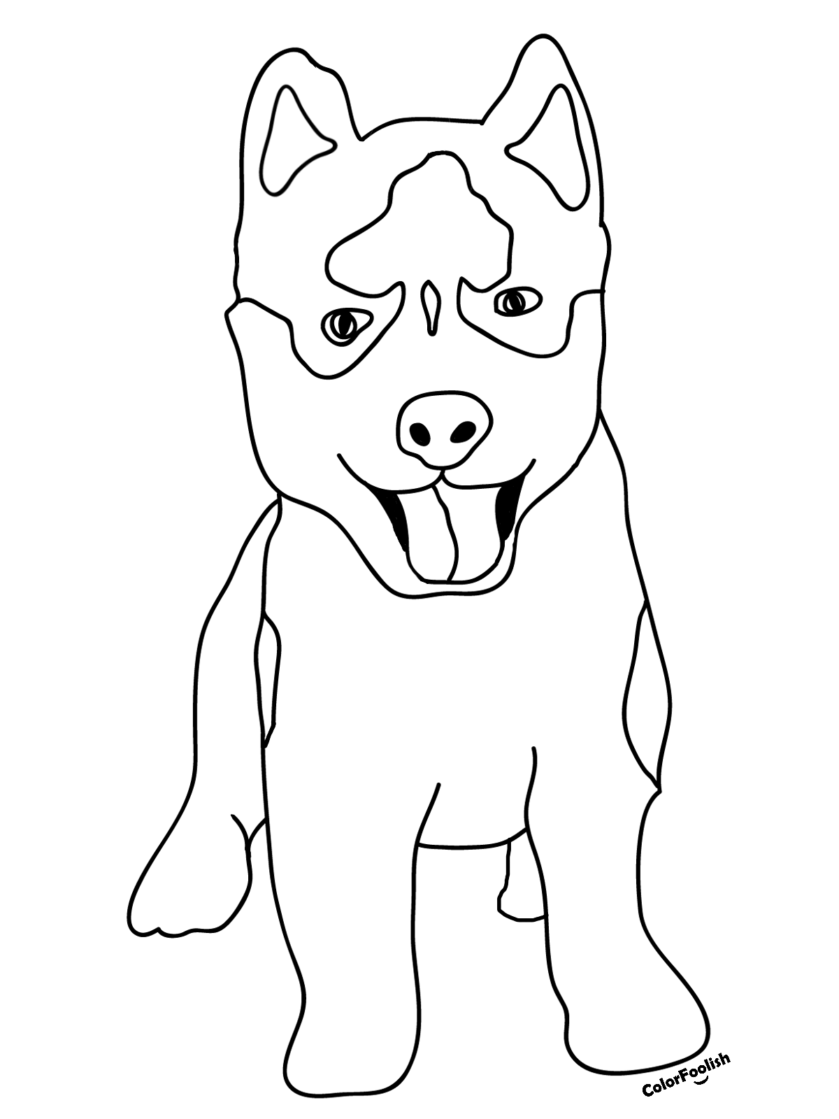 Coloring page of a husky dog puppy