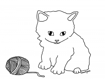Coloring page of a kitten playing with a ball of wool