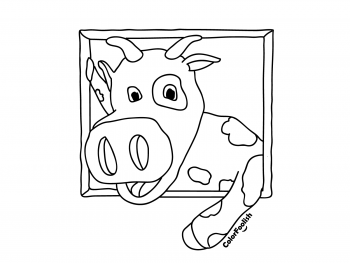 Coloring page of smiling cow
