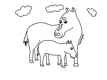 Coloring page of a mare with a foal horse