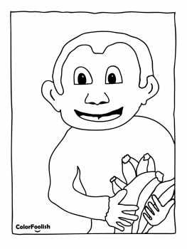 Coloring page of a monkey holding bananas
