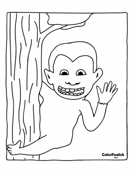 Coloring page of a monkey in a tree