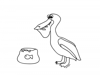 Coloring page of a pelican eating fish