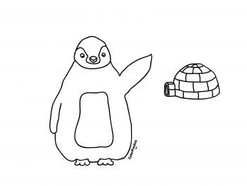 Coloring page of a penguin and an igloo