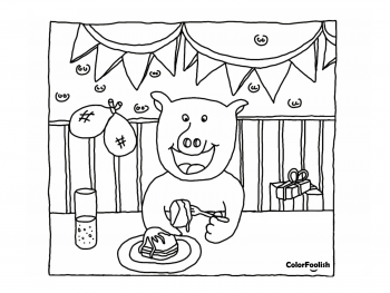 Coloring page of a pig eating cake