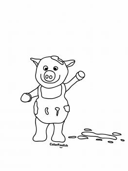 Coloring page of a pig waving at us