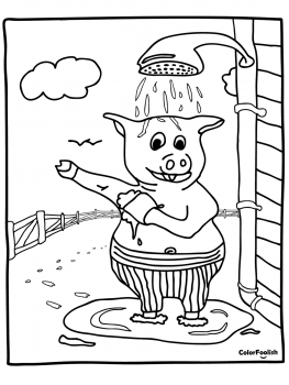 Coloring page of pig washing himself