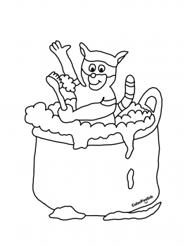 Coloring page of a raccoon washing itself