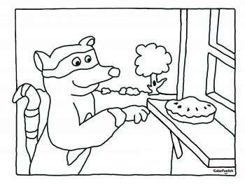 Coloring page of a raccoon stealing a cake