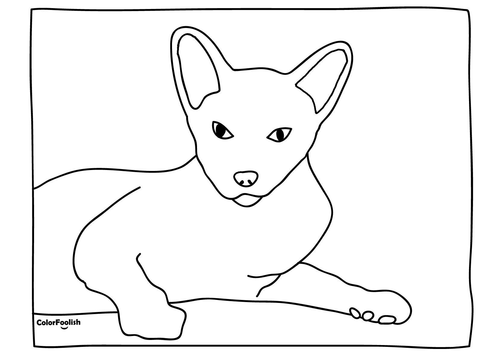 Coloring page of relaxing Siamese cat