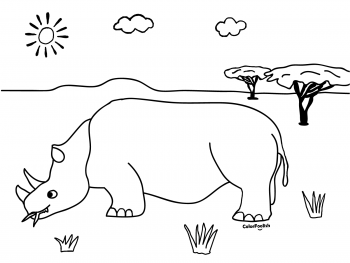 Coloring page of a rhino eating on the savanna