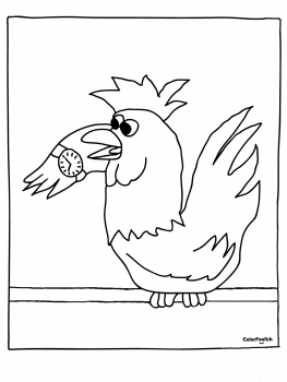 Coloring page of a rooster which forgot the time