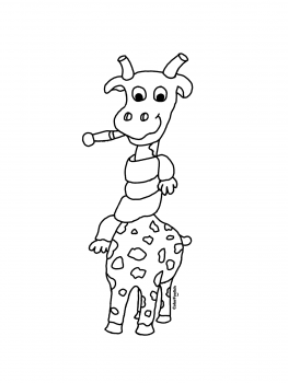 Coloring page of a sick giraffe with a cold