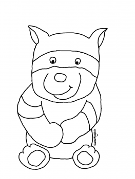Coloring page of a sitting raccoon