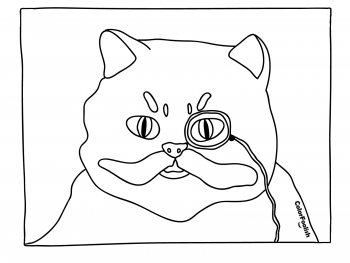 Coloring page of a sophisticated cat with monocle