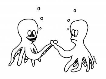 Coloring page of two squids looking for the strongest